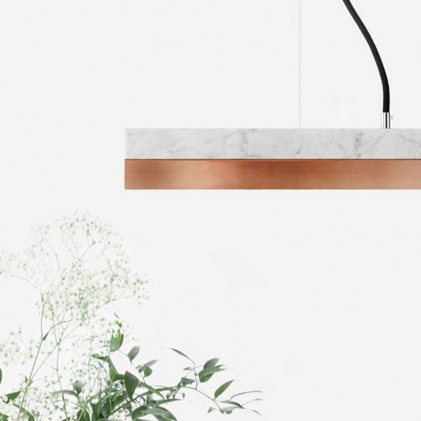 [C2m] Pendant light marble and copper small
