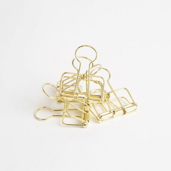 Stack of Gold Bulldog Clips