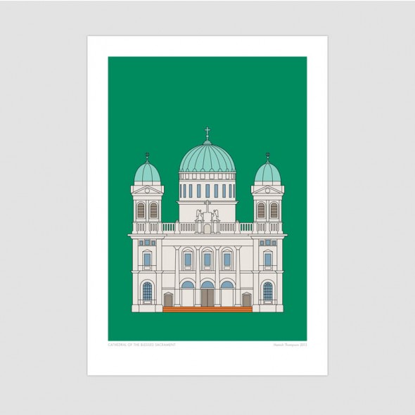 Cathedral of the Blessed Sacrament - Christchurch Historic Art Print