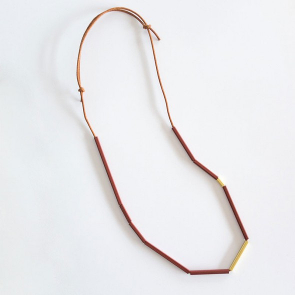 Linear Brass Necklace Garnet by Love Hate