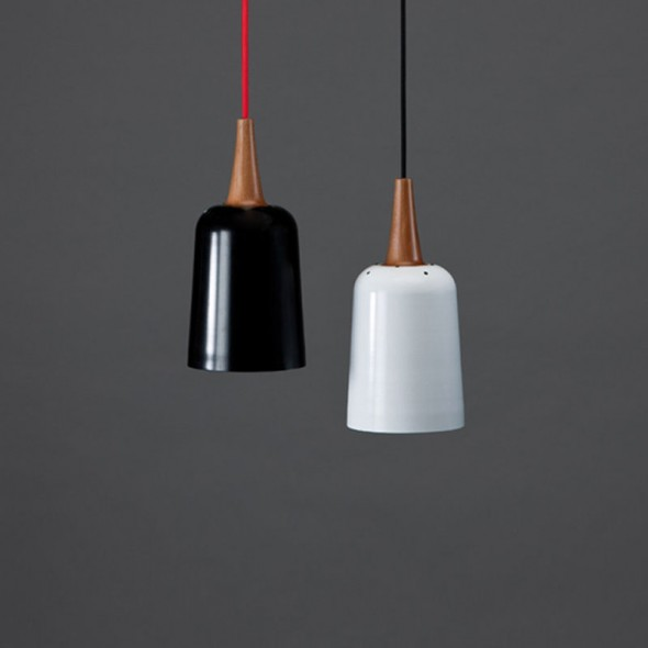 Ampel Pendant Black Shade, Red Cable & White Shade, Black Cable