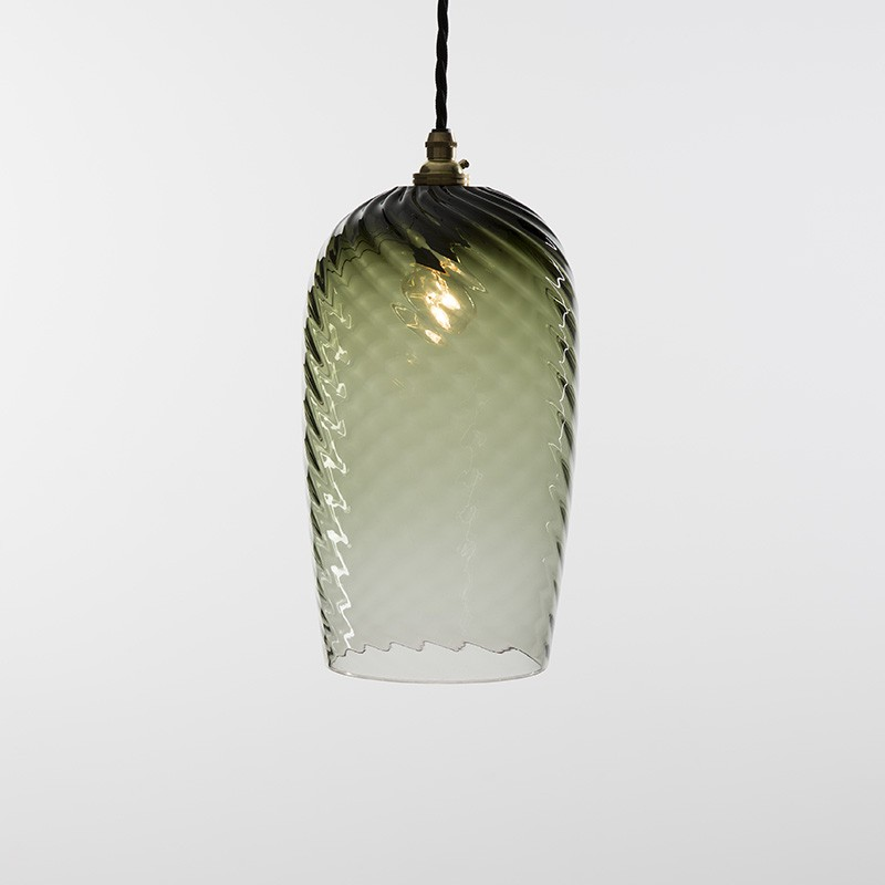 twist pendant glass lamp eel green by monmouth glass studio