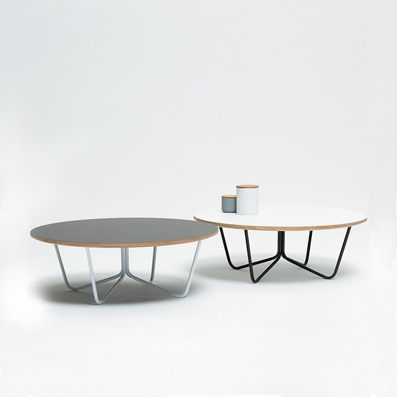North Coffee Table White Top   Black Legs (round)