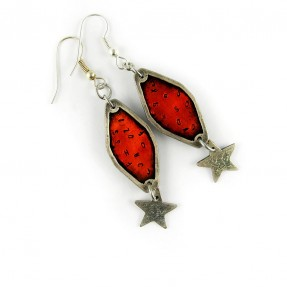 Alphabet Earrings Red
