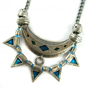Arc of Silver Necklace Blue
