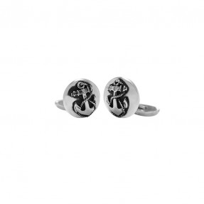 Sterling silver anchor cufflink