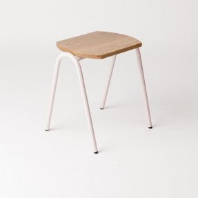 The Hurdle Low Stool - Dusty Pink and Oak