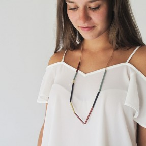 Linear Brass Necklace - Multi