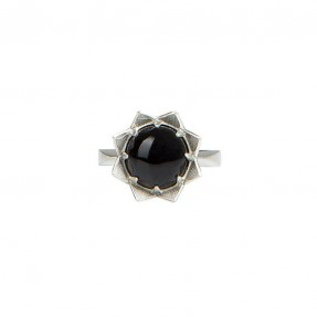 Crown Ring Silver Onyx by Holly Howe