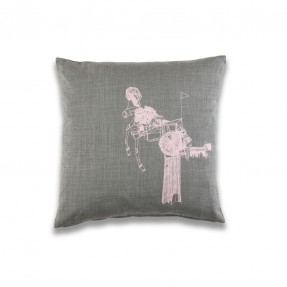 At A Glance Cushion - Grey Wool - pink print