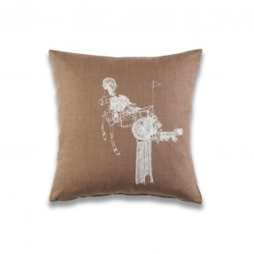 At A Glance Cushion - Brown Wool - white print