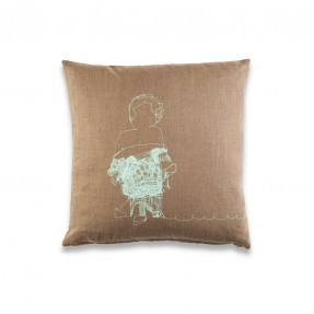 Ms Charming Cushion - Brown Wool, mint print