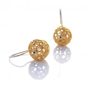 Small Gold Lace Pod Earrings