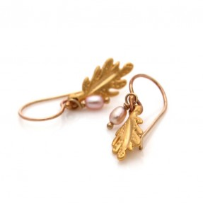 Leaf Drop Earrings Gold