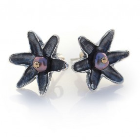 Lotus Flower Studs in silver