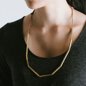 Linear Brass Necklace - Brass by Love Hate