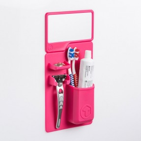 Toothbrush holder and mirror