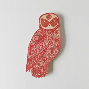 Red Owl on Plywood Small