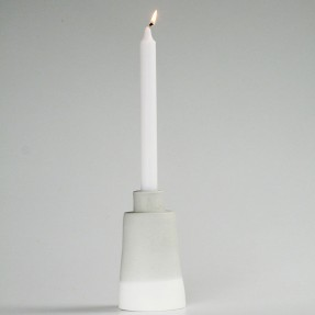 Light Grey Ceramic Candle Stick by Renee Boyd