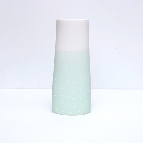 Vase Green/Half White Dots