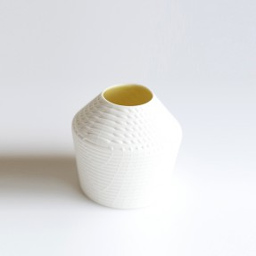 Hipped Vase Yellow/White