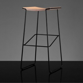 Wrap Stool 75cm Black, Wooden Seat