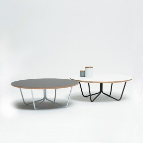 North Coffee Table White Top - Black Legs (round)