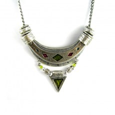 Arc of Silver Necklace Green Red