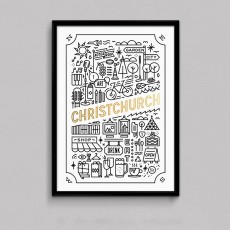 Garden City Gold Foil White Art Print
