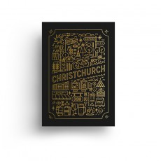 Garden City Gold Foil Black Art Print