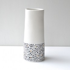 White Vase With Black Dashes and Gold