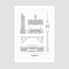 4 Cities - Auckland - Poster