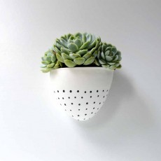 Wall Planter White/Half Black Dots