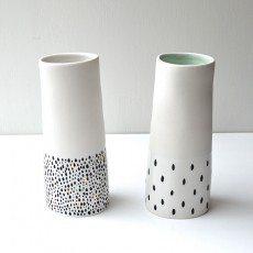 White and Black Vase with mint inside