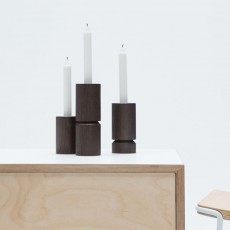 Black Stained Oak Dip Candle Holders